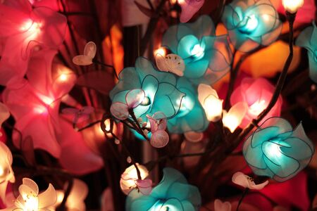 artificial flowers: Artificial flowers with illumination by electric lamas