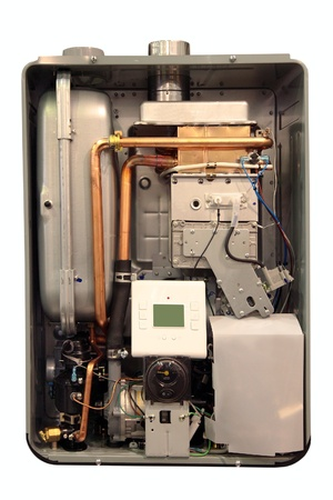 Internal view of the gas boiler to heat your home  photo