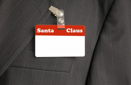 namecard: Close Up of Black Suit with Santa Claus ID Card Stock Photo