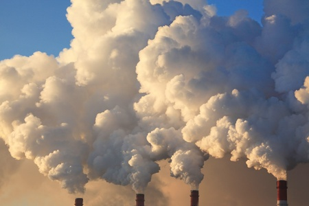 global cooling: Smoke from the Pipes of Heat Station  Stock Photo