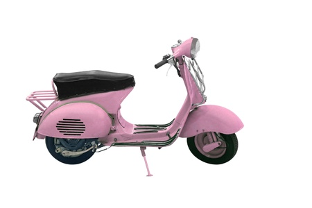 pink bike: Vintage Scooter 50s isolated on white background