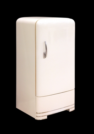 A Retro White colored Refrigerator on a black background
