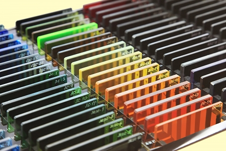 calibrated: Set of Flat Colored Glass for Optical Researches Stock Photo