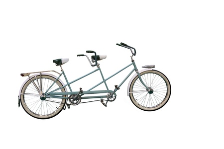 Retro Tandem Bicycle isolated on white background photo