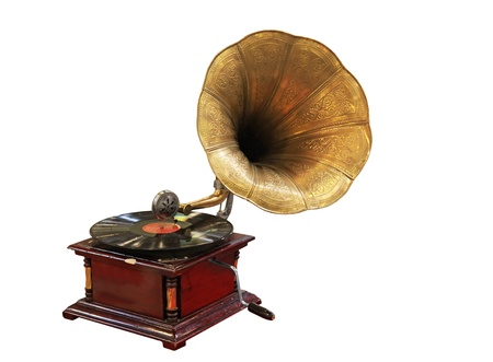 phonograph: Old Gramophone with Vinyl isolated on white Stock Photo