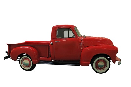 chevy: Vintage Red Classic Pickup isolated on white background Stock Photo
