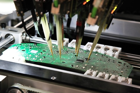 color range: Equipment for the electronic control of the correct installation of printed-circuit boards Stock Photo