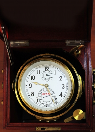 undisturbed: Marine chronometer, mounted in gimbals with a mahogany box  The movement is mounted in gimbals so that it remains horizontal and thus undisturbed by the motion of the ship