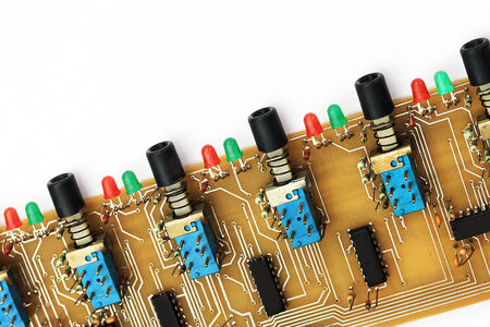 soldered:  printed circuit board with some components soldered in