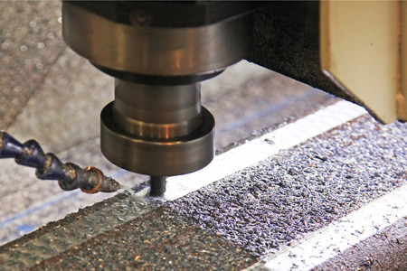 cooled: Milling strips on the metal liquid cooled Stock Photo