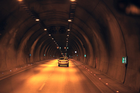 Highway in a tunnel under the mountain ridge in the mountains of Turkey