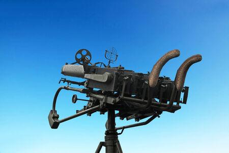 armaments: anti-aircraft gun of the four Maxim machine guns on the background of blue sky