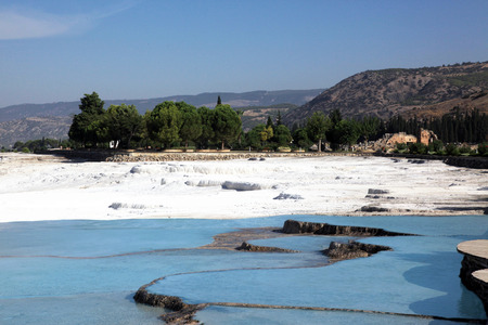 carbonates: Natural travertine pools and terraces in Pamukkale, Turkey Stock Photo
