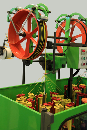 braiding: Rope braiding machine for the weaving industry Stock Photo