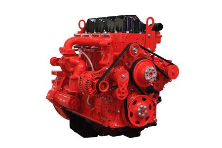 白い背景で隔離赤いディーゼル エンジン 写真素材