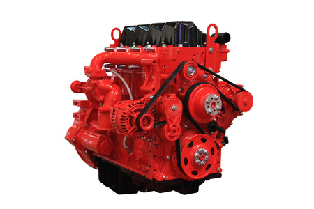 engine parts: Red  diesel engine isolated on white background
