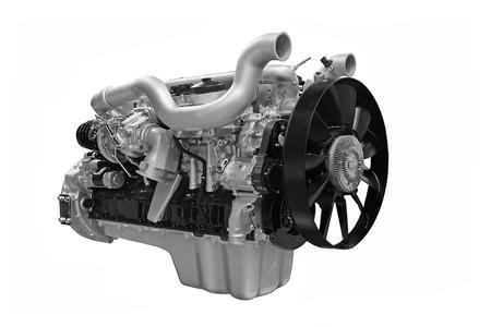 turbocharger: Grey  diesel engine isolated on white background Stock Photo