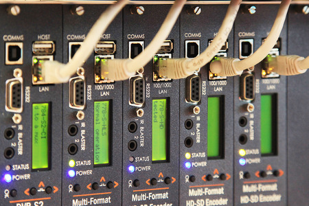 gigabit: network server room with  hub for digital communications and internet Stock Photo