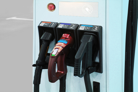 suppliers: Suppliers of a new filling station for electric cars Stock Photo