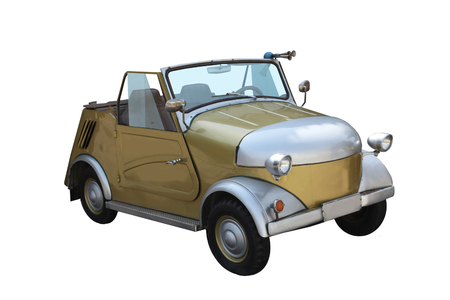 locomotion: The old car for invalids. Micro car an invalid carriage, made especially for disabled persons.