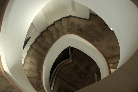spiral staircase: Spiral staircase in an old building. Top view