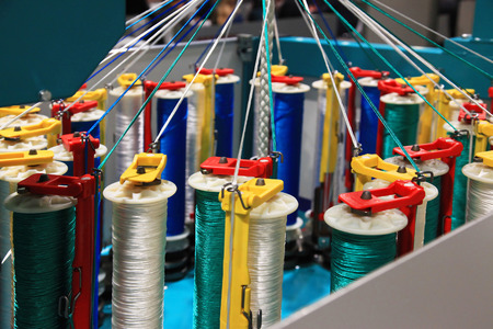 braiding: Rope braiding machine for the weaving industry Stock Photo