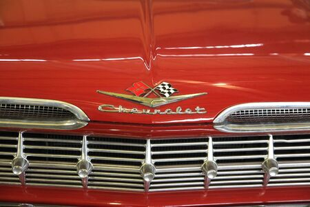 chevrolet: Logo Chevrolet Impala 1959 year - the exposure of the Moscow museum of retro cars - March 2016