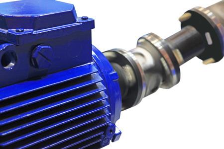 rotates: The motor rotates the shaft through cardan transmission. Isolated on white background