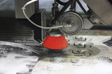 water jet: Metalworking. Machine for water jet cutting with abrasive Stock Photo