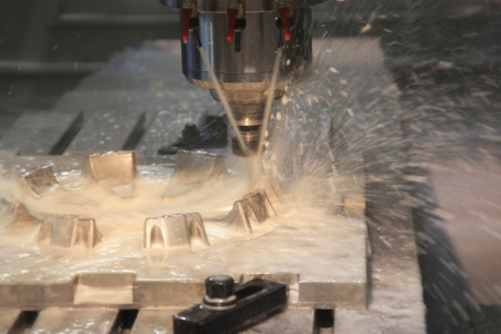 automated tooling: industrial metal machining cutting process of blank detail by milling cutter