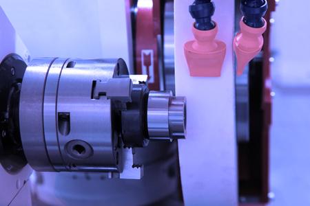 metal working: metalworking industry: finishing metal working on lathe grinder machine