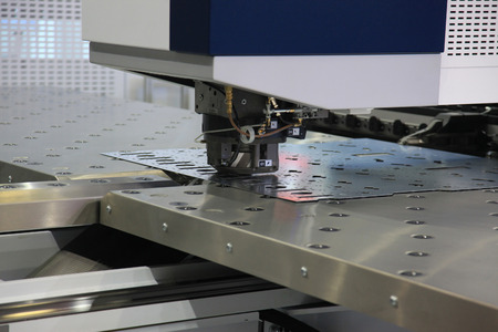 High precision CNC sheet metal stamping and punching machines Stock Photo