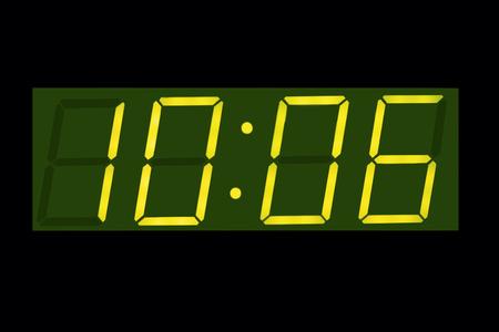 horizontal  green: Horizontal green vintage digital  display clock  background