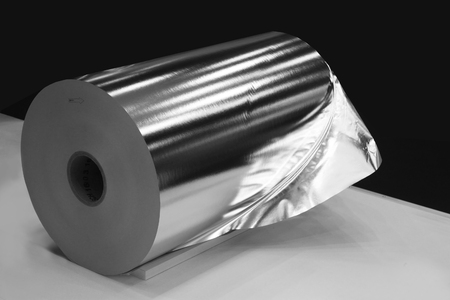 Aluminium rolled products or aluminium coil, conductor raw material Banco de Imagens