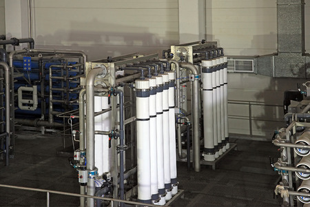 desalination: reverse osmosis equipment inside of plant for the manufacture of beverages
