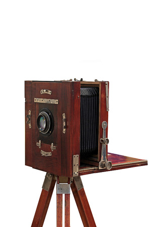 rarity: old studio camera, on a white background