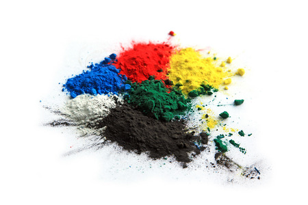 dry powder: Collection of colorful powder - yellow, red, black, green, blue, white