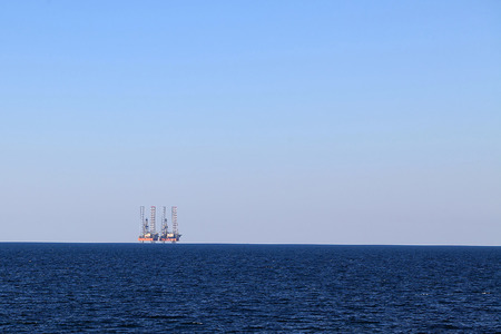 Two sea drilling platforms looking for gas at the bottom of the sea