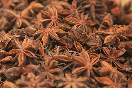 fragrant: closeup details of star anise, dried herb