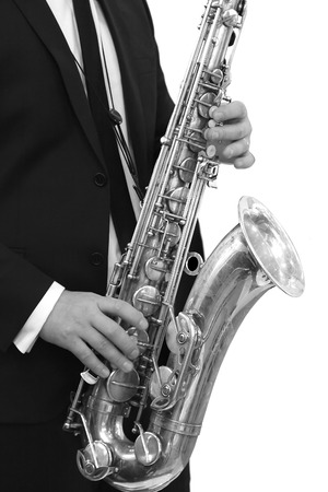 adult entertainment: Alto Saxophone Classical Jazz Musician black and white image