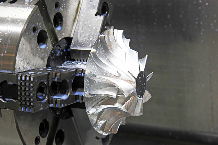 Pump impeller in the chuck of the lathe