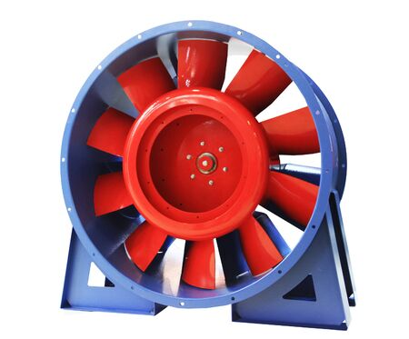 Industrial axial fan with blade adjustment