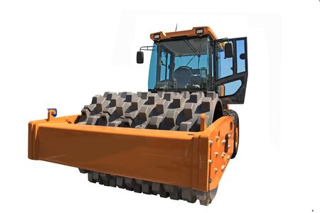 Red Heavy Vibration roller compactor pavement works for road repairing. Isolated on white.