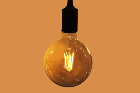 Retro style incandescent lamps. Light bulb in the dark.