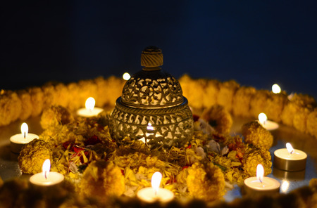Traditional Indian earthen lamp during Diwali photo