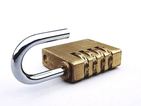 Combination padlock unlocked Stock Photo