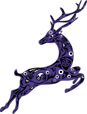 white tail deer: Deer illustration violet animal white flower black curls deer male animal with drawing animal deer long horns deer drawing Stock Photo