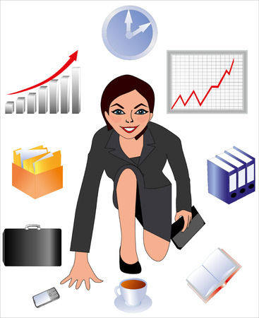 lady clock: The worker of office the business lady the secretary the girl in a business suit the schedule of sales the cell phone a gray business suit the joyful worker an illustration of office worker a cup with coffee the folder with documents a wall clock the woma