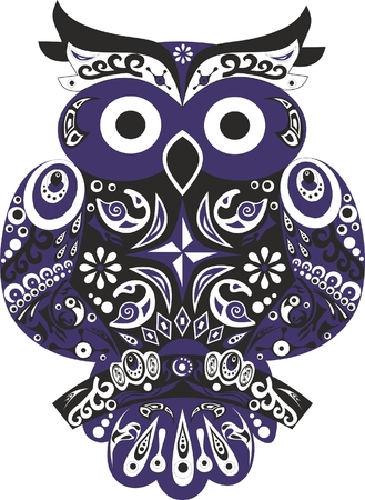 eagle owl: Owl bird eagle owl animal black color eagle owl the bird a horned owl sit on a tree stylized a bird an owl with and ears a vector wings with drawing