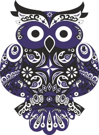 sowa: Sowa ptak puchacz zwierząt kolor czarny puchacz ptaka rogaty sowy siedzą na drzewie stylizowane ptaka Sowa z i uszy wektorem skrzydeł z rysunku Ilustracja